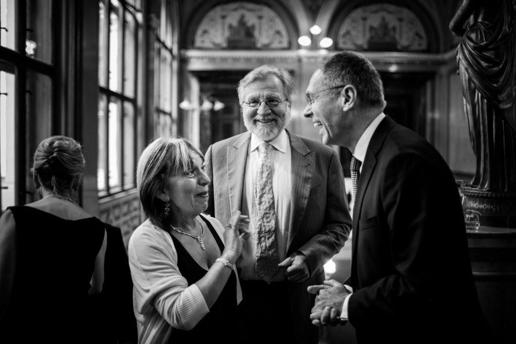 květen 2016, oslavy 25. výročí založení CERGE-EI, Heddy Riss, Gérard Roland, Jan Švejnar
