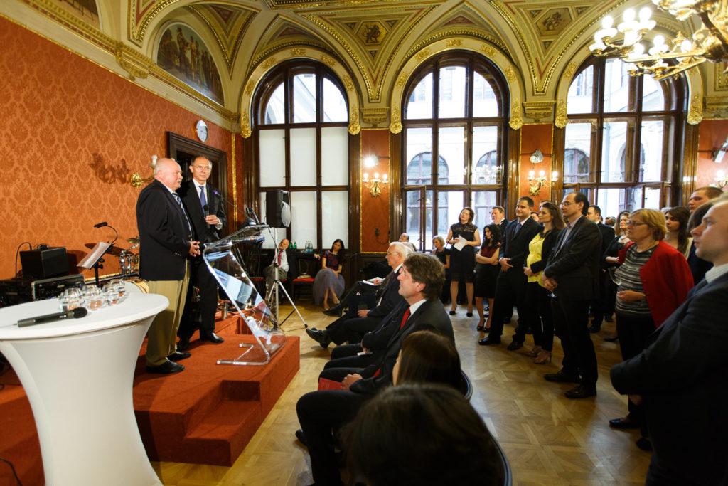 květen 2016, oslavy 25. výročí založení CERGE-EI, Josef Zieleniec, Jan Švejnar